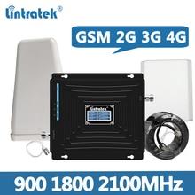 مقوي إشارة Lintratek GSM 2G 3G 4G مكرر 900 1800 2100MHz مكبر للصوت GSM 900 مكرر 1800 2100 3G 4G الداعم مجموعة كاملة