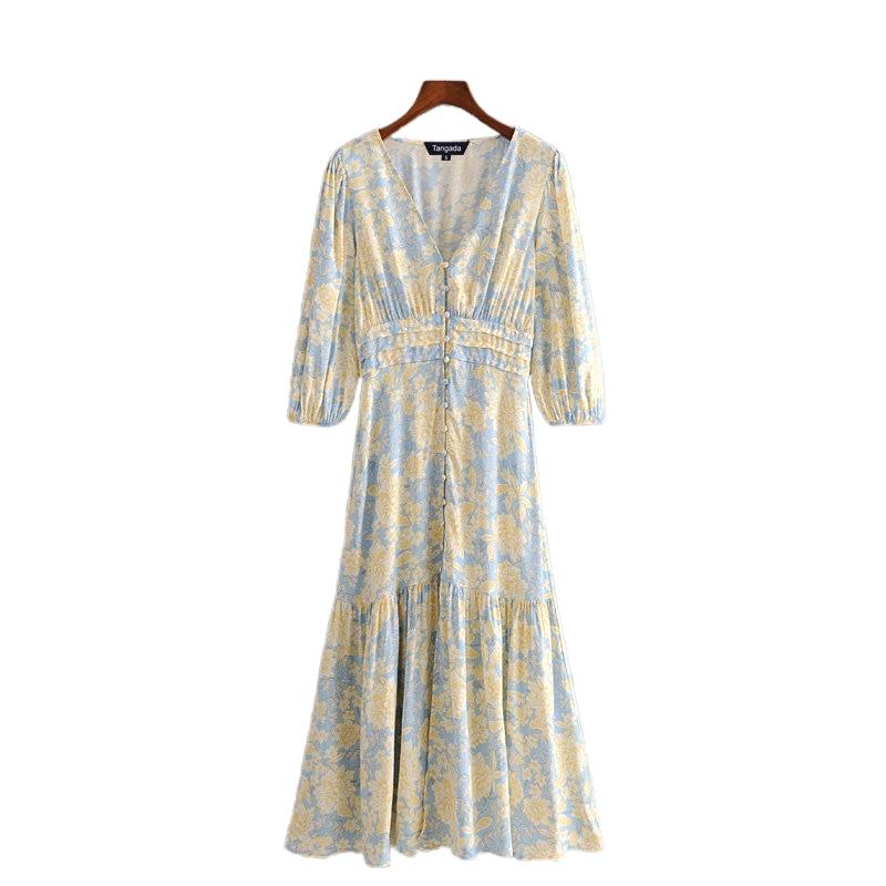 Tangada Fashion Women Yellow Floral Midi Dress Short Sleeve Buttons Ladies Elegant V Neck Vintage Dress 3H394