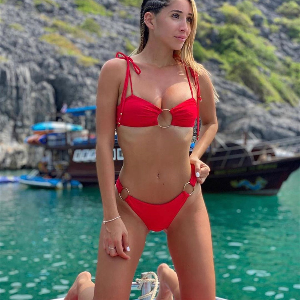 2020 Europe And The United States New Solid Color Sexy Rims Bikini Swimsuit Women Swimsuit