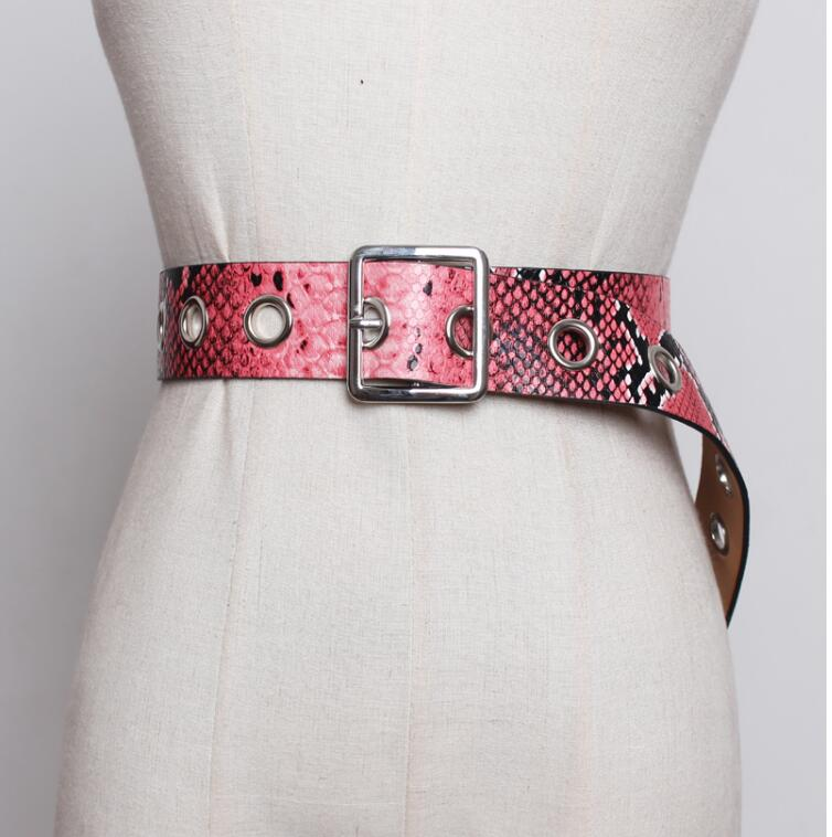 Women's Runway Fashion Snakeskin Print Pu Leather Cummerbunds Female Dress Corsets Waistband Belts Decoration Wide Belt R1882
