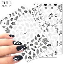 1 шт. стикеры s для дизайна ногтей белый черный цветок лист линейные маникюрные слайдеры 3D дизайн ногтей декоративные стикеры Наклейка CHF564-573