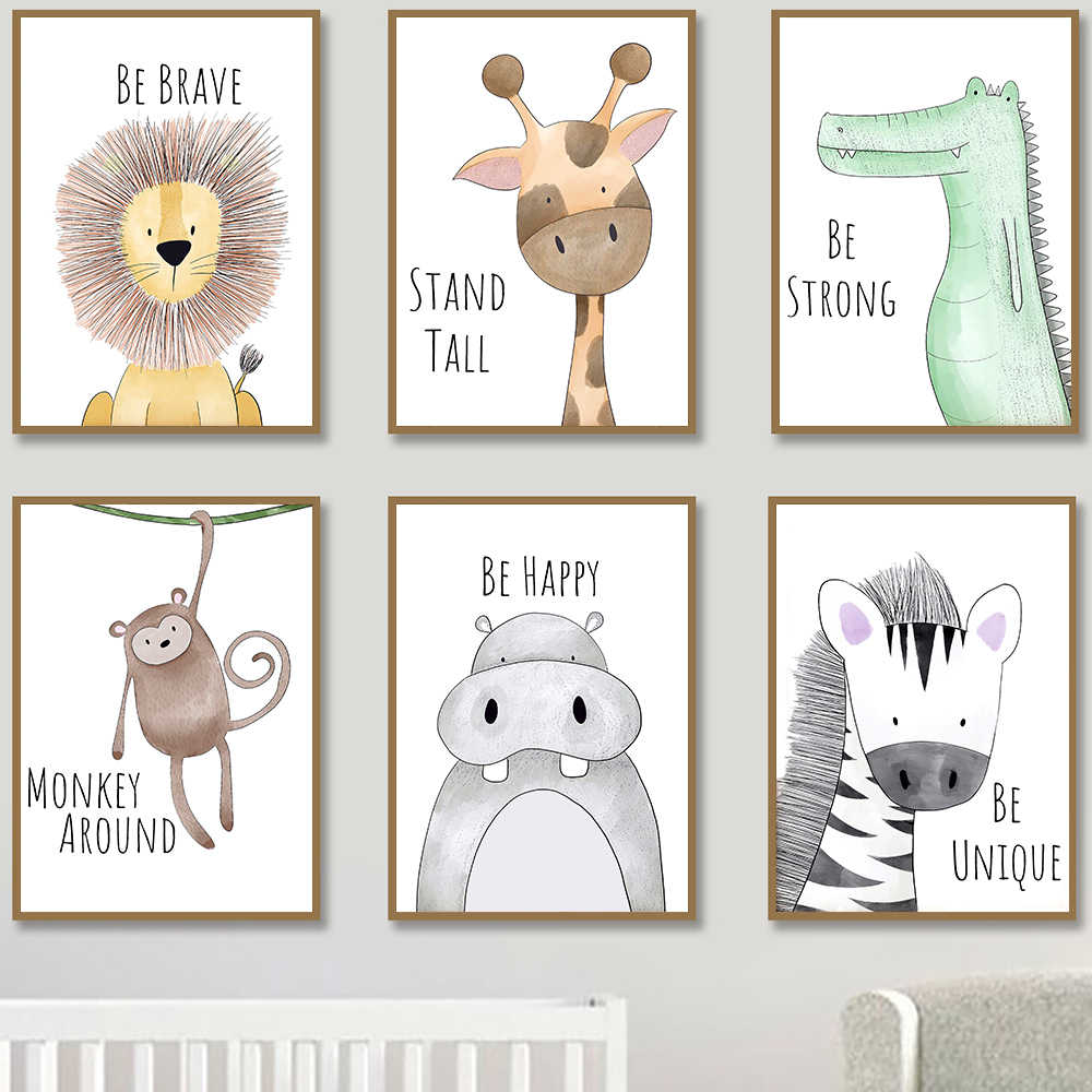 Nursery Room Animal Prints & Posters Inspirational Quote Giraffe Monkey Lion Be Brave Strong Happy Canvas Painting Picture Decor