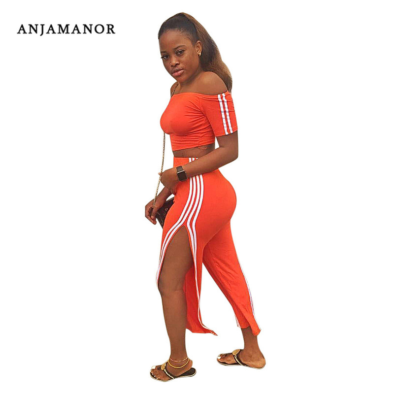 Orange Side Striped Sexy Two Piece Set Off Shoulder Crop Top And Split Pants 2019 Fashion Outfit Matching Sets D35-AE30