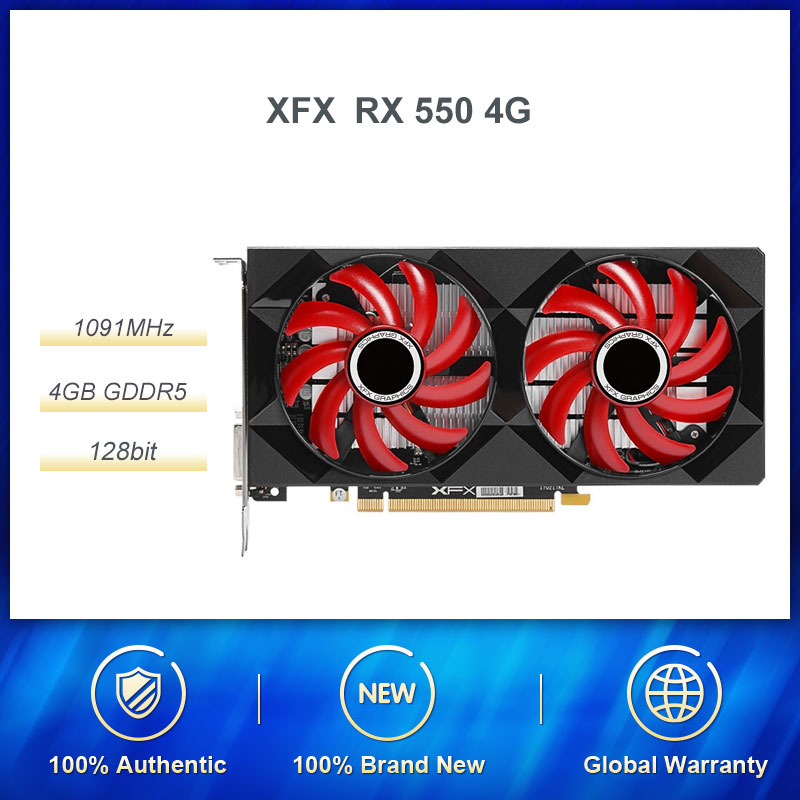 XFX <font><b>RX</b></font> <font><b>550</b></font> 4G GDDR5 128bit HDMI/DP/DVI 6000MHz Gaming Desktop Graphics Card PUBG Game Graphics Card 4G Memory AMD RX500 Series image