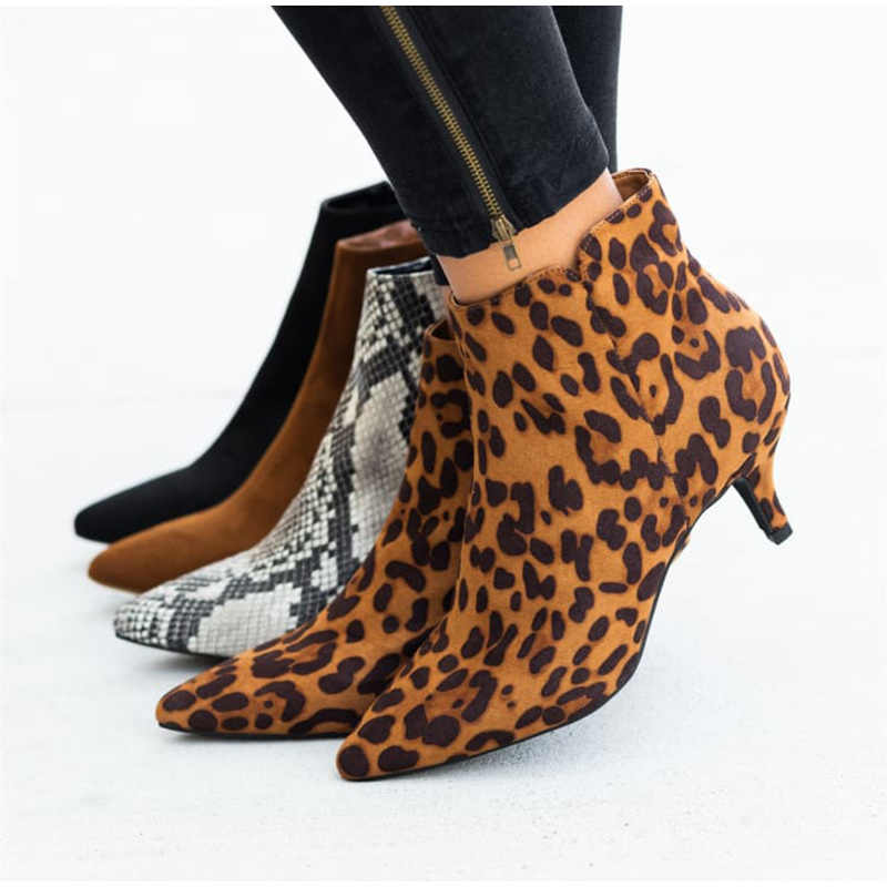 Autumn Women's Ankle Boots Leopard Female Zip Pointed Toe Woman Snakeskin Stilettos Plus Size Sexy Ladies Suede Female Shoes