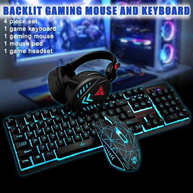 Gaming Keyboard Mouse Headsets Mouse Pad Set 1600DPI Waterproof Illuminated JR Deals 6