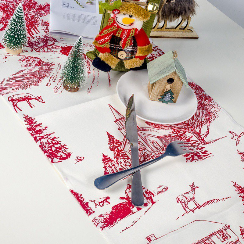 Image 4 - 1PC 35x200cm Christmas Table Runner Mat Tablecloth Christmas Flag Home Party Table Decoration For Christmas Table Runner-in Table Runners from Home & Garden