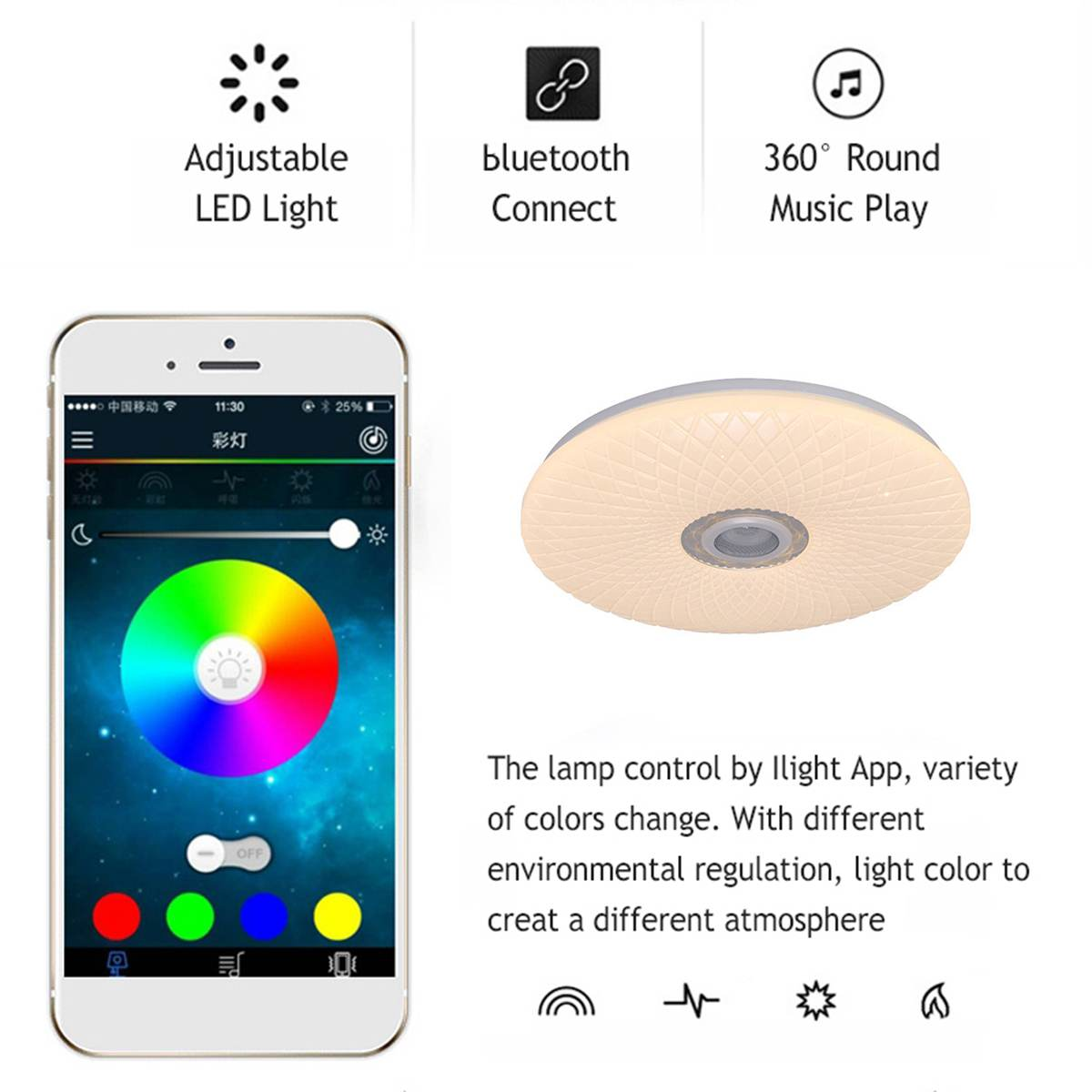 H8b01f7dc69b244a0a238f6a657db77cfU Modern RGB LED Ceiling Light home lighing 36W/60W 40cm APP Remote Control bluetooth Music Light Bedroom Lamp Smart Ceiling Lamp
