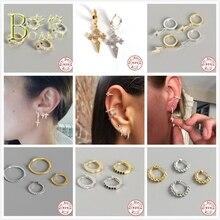 BOAKO Punk Cross Earrings Men 925 Silver For Women Small Hoop Piercing Ear Bone Rapper Girl aretes B5