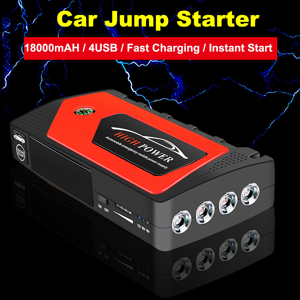 18000mAh 4USB 12V 600A Portable LED Car Jump Starter Emergency Amplifier Charger Battery Power Bank Car Battery Starter Booster image