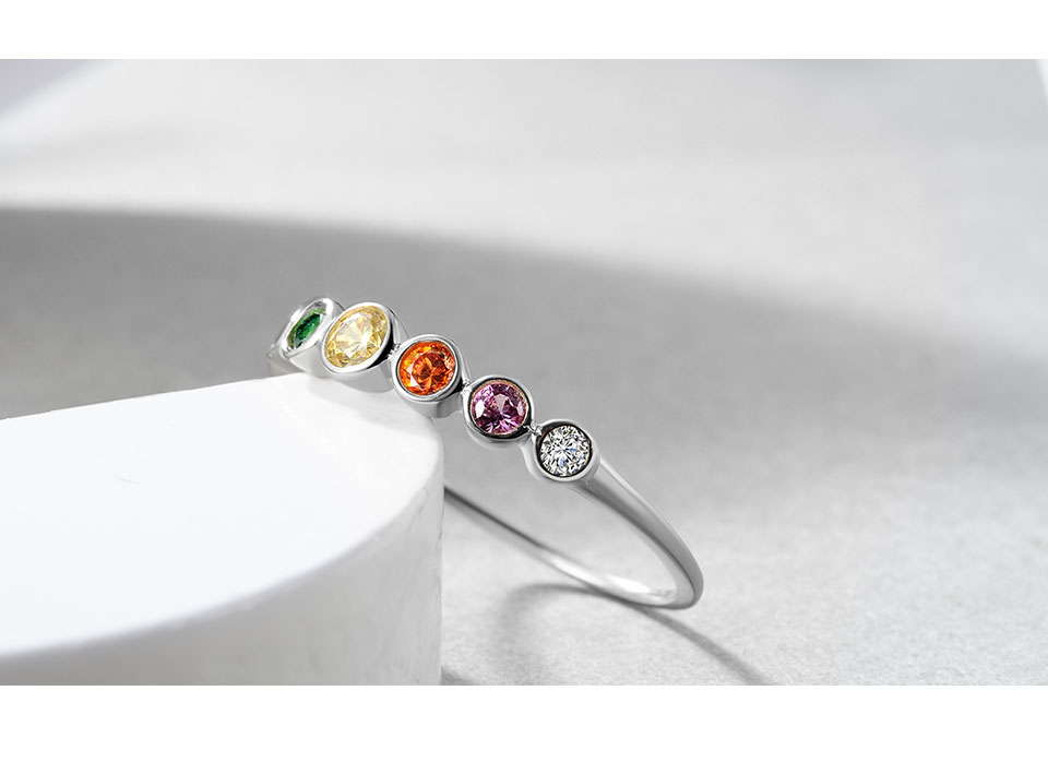 H8b024991f09947b3a78aa43e3753243dh E 925 Sterling Silver Rainbow Gemstones Ring for Women 14K Gold Plated Silver Jewelry Rings Color Cubic Zirconia Wedding Rings