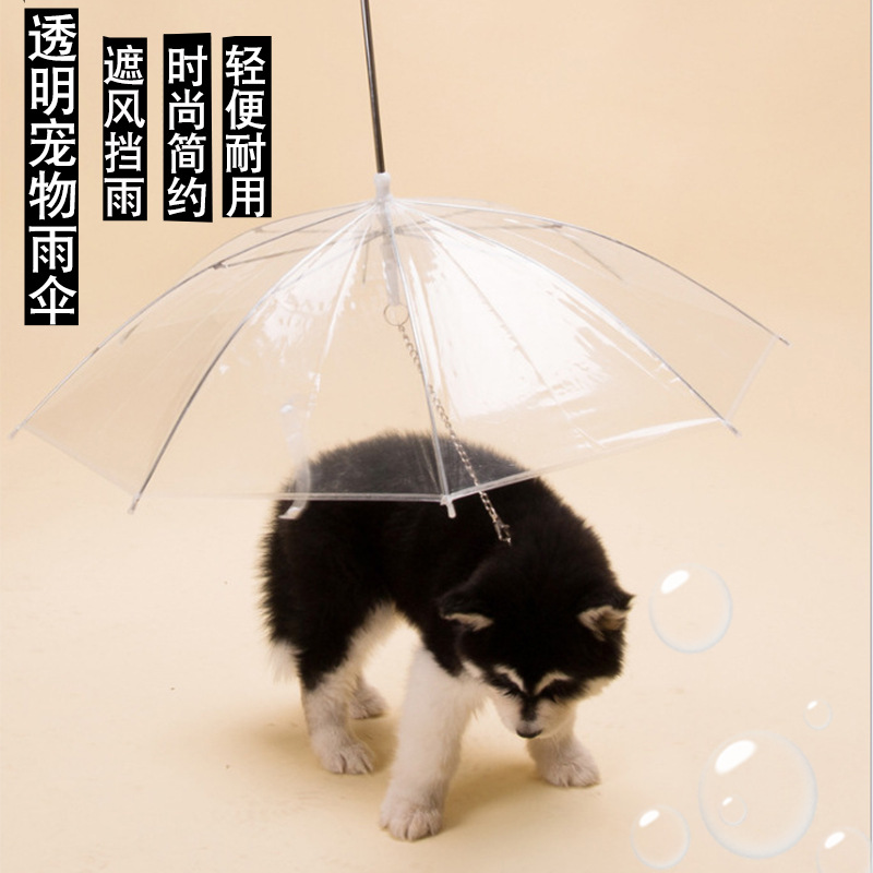 New Style Transparent Umbrella Dogs And Cats Only Umbrella Rain College Style Towable Pet Umbrella Dog Umbrella