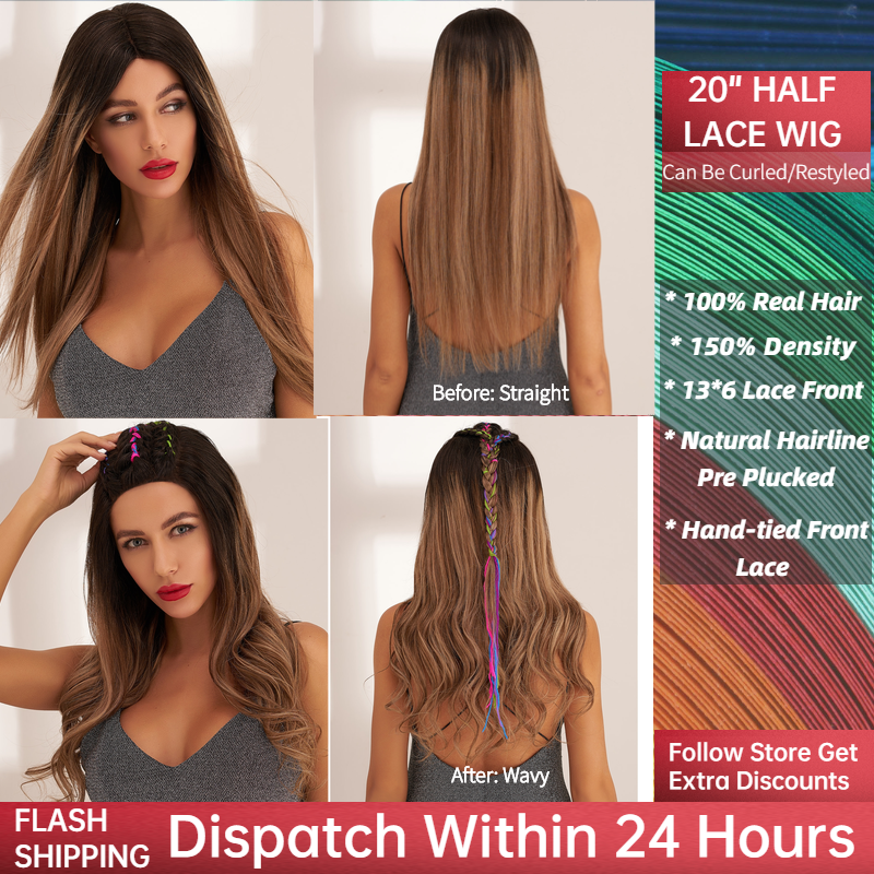 Neitsi Cendre Blonde Half Lace Remy Human Hair Wig 20'' 60cm 150% Denisty Women Straight Ombre Long Wigs With Baby Hair