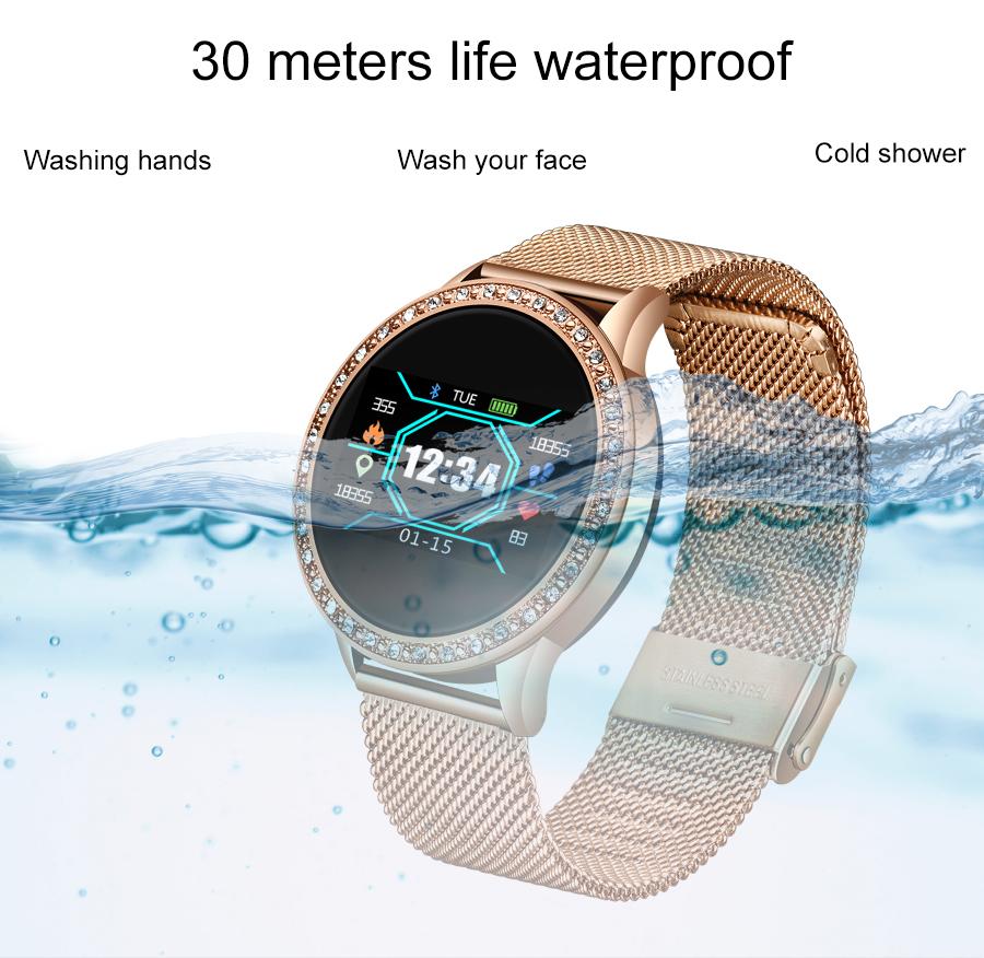 Reloj inteligente LIGE para mujer con monitor, seguidor Fitness de frecuencia cardíaca y presión arterial 8