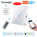 Szaoju Touch Switch, EU Standard, White Crystal, Glass Panel, Tuya Smart, Ac 220V, 1 Set 1 Way, Wall Light No Need Neutral Wire