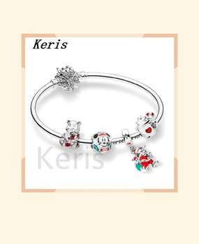 100% 925 silver sterling winter bracelet Christmas train set heart melter wall wall glass charm robot dog charm house