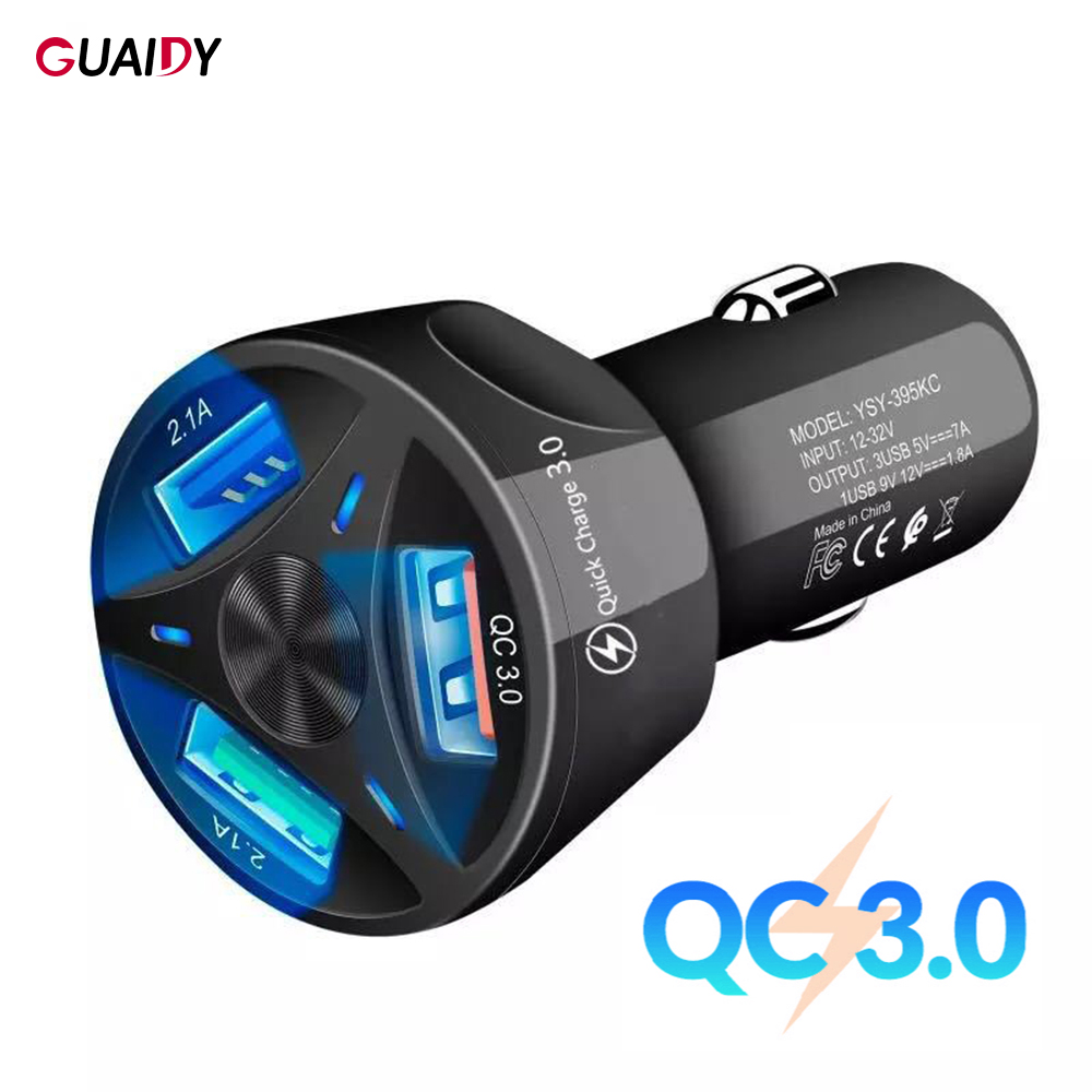 3 USB QC3.0 Car Charger Smart Phone Accessories Adapter Light Display Quick Charging For Huawei Xiaomi Redmi 7 Universal Porable