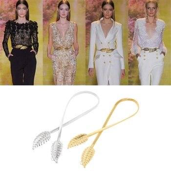 Women Belts Leaf Shape Belt Metal Leaves Cummerbund Clasp Front Stretch Waistband Gold Silver Elastic Waist Belt 2