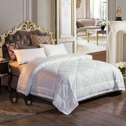 Luksusowy 100% kaszmirowy pocieszyciel Queen kołdra włóż wszystkie pory roku jednolity biały hypoalergiczne 100% bawełna żakardowa powłoki z zakładką