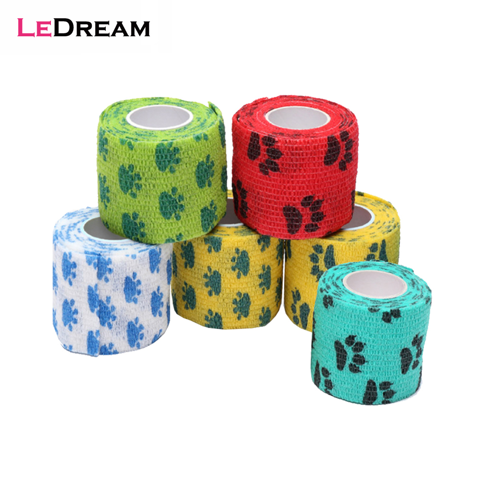 1 Roll 5*450cm Self-adhesive Flex Elastic Pet Tattoo Handle Grip Bandage Tube Wrap Stick Medical Tape Accessories Random Color