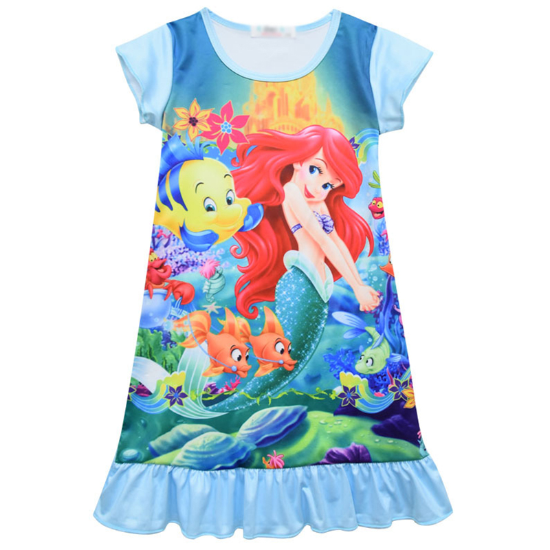 Girls Elsa Princess Mermaid Nightgown Pajamas Kids Long Sleeved Nightdress Cute Cartoon Child Female Baby Sleeping Dress
