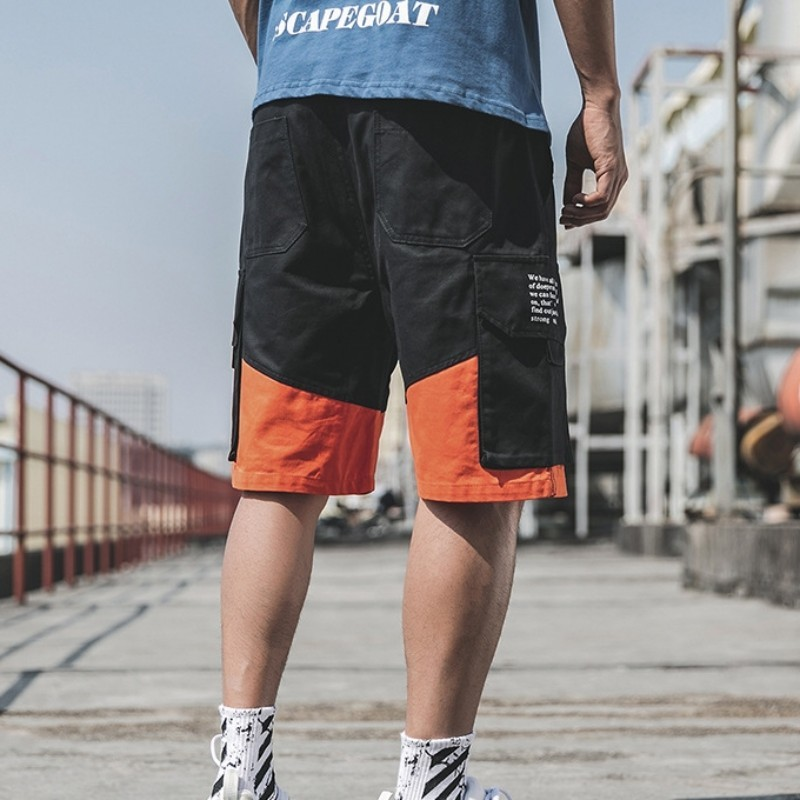 Fashion 100% Cotton Men Shorts 2020 Summer Loose Fit Casual Cargo Shorts Korean Letter Printing Multi Pocket Knee Length Shorts