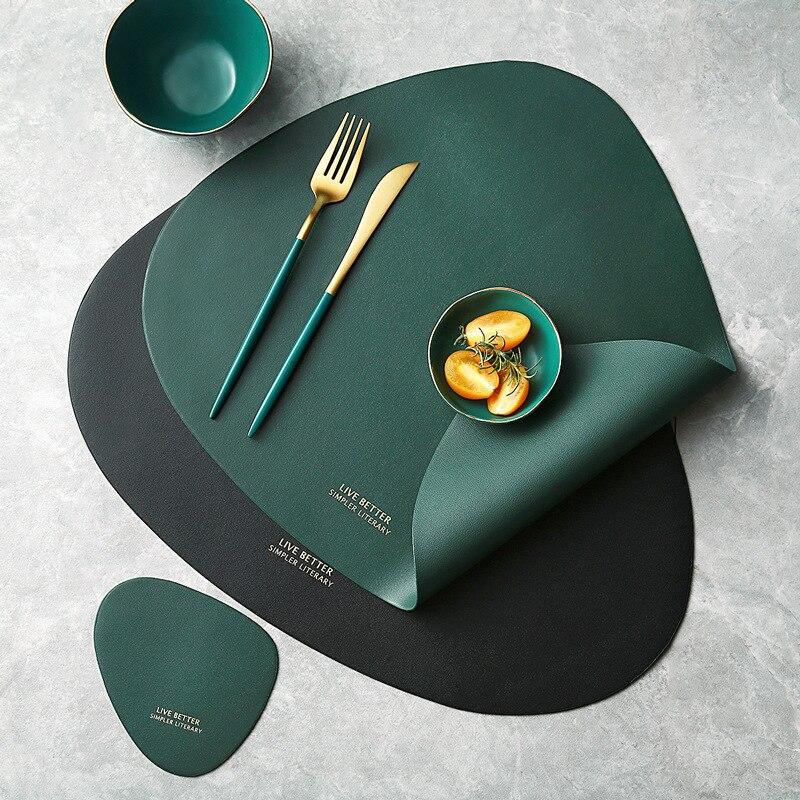 Geschirr Pad Tischset Tisch Matte PU Leder Wärme Isolierung Nicht-Slip Einfache Tischsets Disc Bahn Tischset für Esstisch