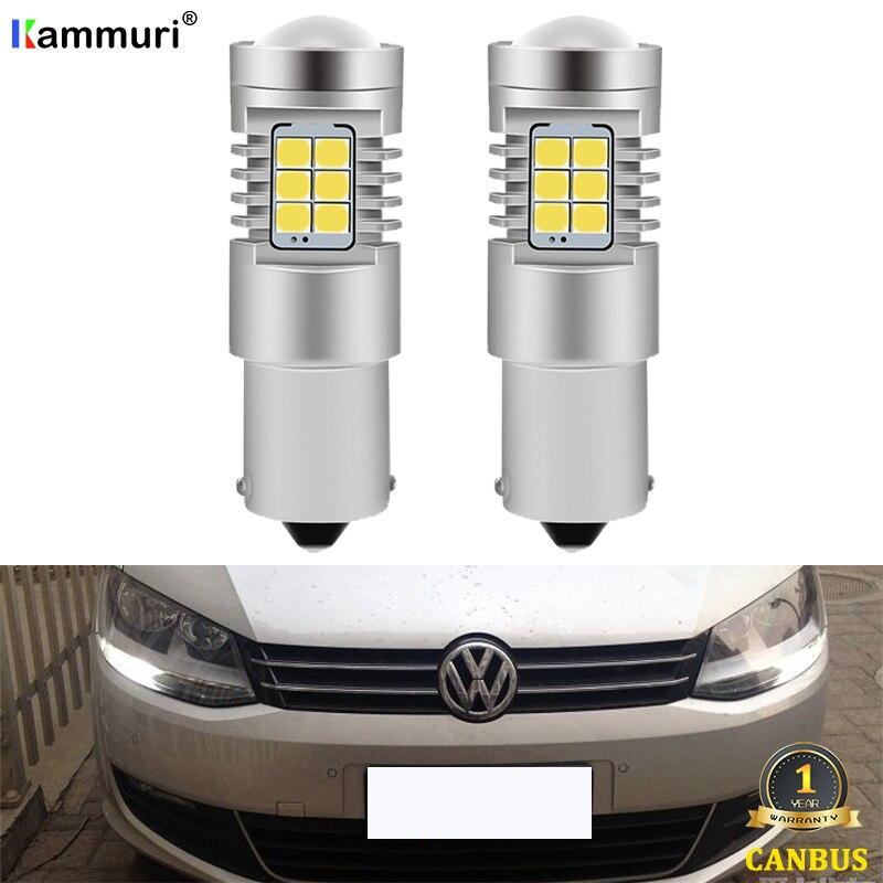 KAMMURI (2) Белый Canbus без ошибок 1156 P21W светодиодный лампы для Фольксваген 7N 2010 - 2018 светодиодный DRL Габаритные огни