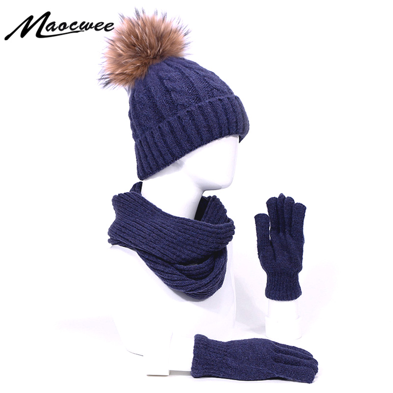 Autumn And Winter Pompon Beanie Hat Scarf Gloves Three-piece Set Unisex Warm Outdoor Sport Thick Hat For Men And Women Real Fur