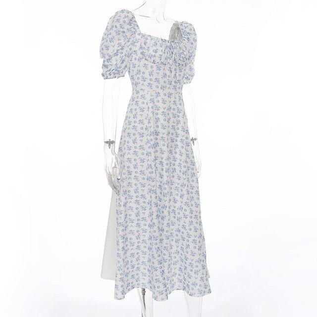 Deer Lady White Floral Dress 2020 Midi Dress Bodycon Side Slit Sexy Celebrity Club Party Dress Women Evening 6