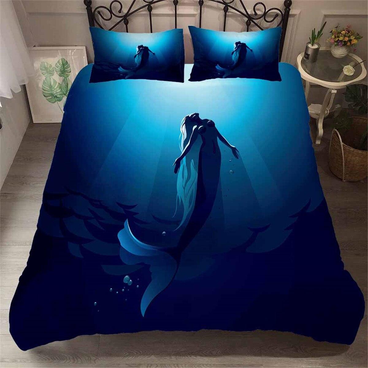home textile deep sea mermaid bedding set girls comforter sets single double size bed duvet cover blue art bedspread pillow set