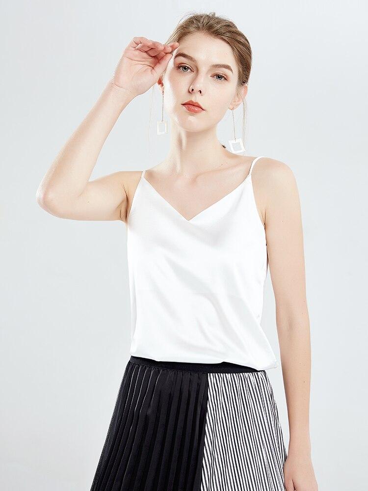 Camisola básica de satén blanco negro con cuello en V profundo sexi con tiras finas de seda de hielo mate, camiseta sin mangas con espalda al aire para la playa