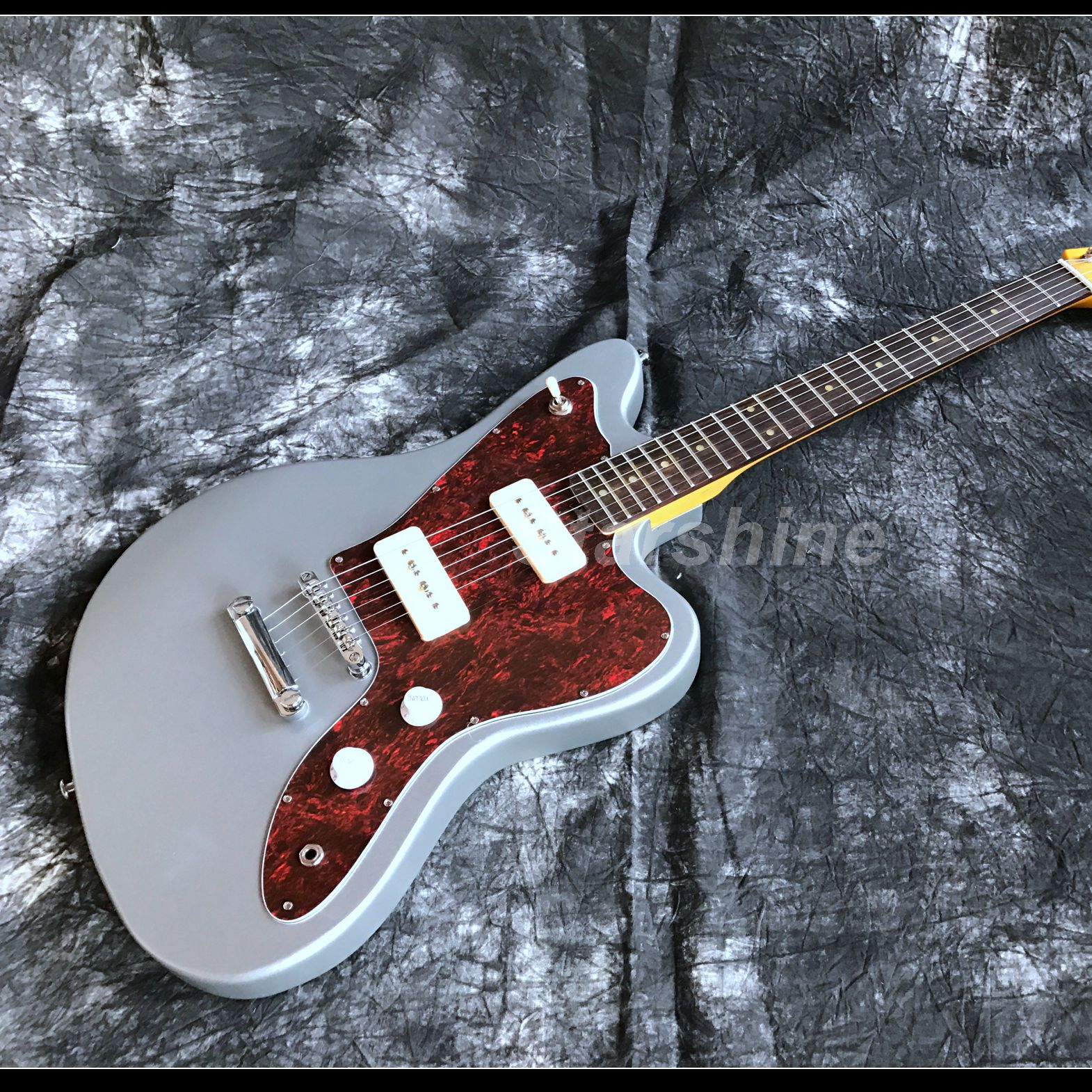 Top Quality Jaguar Custom Shop Electric Guitar T-ER7 Metal Gray Color P90 pickups