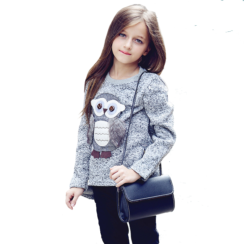 Girls Fleece Lined Zipper sweater Cartoon Cute Owl Casual Cotton Girls <font><b>Winter</b></font> <font><b>Clothes</b></font> girls sweater <font><b>for</b></font> 6 7 <font><b>8</b></font> 9 10 12 14 <font><b>years</b></font> image