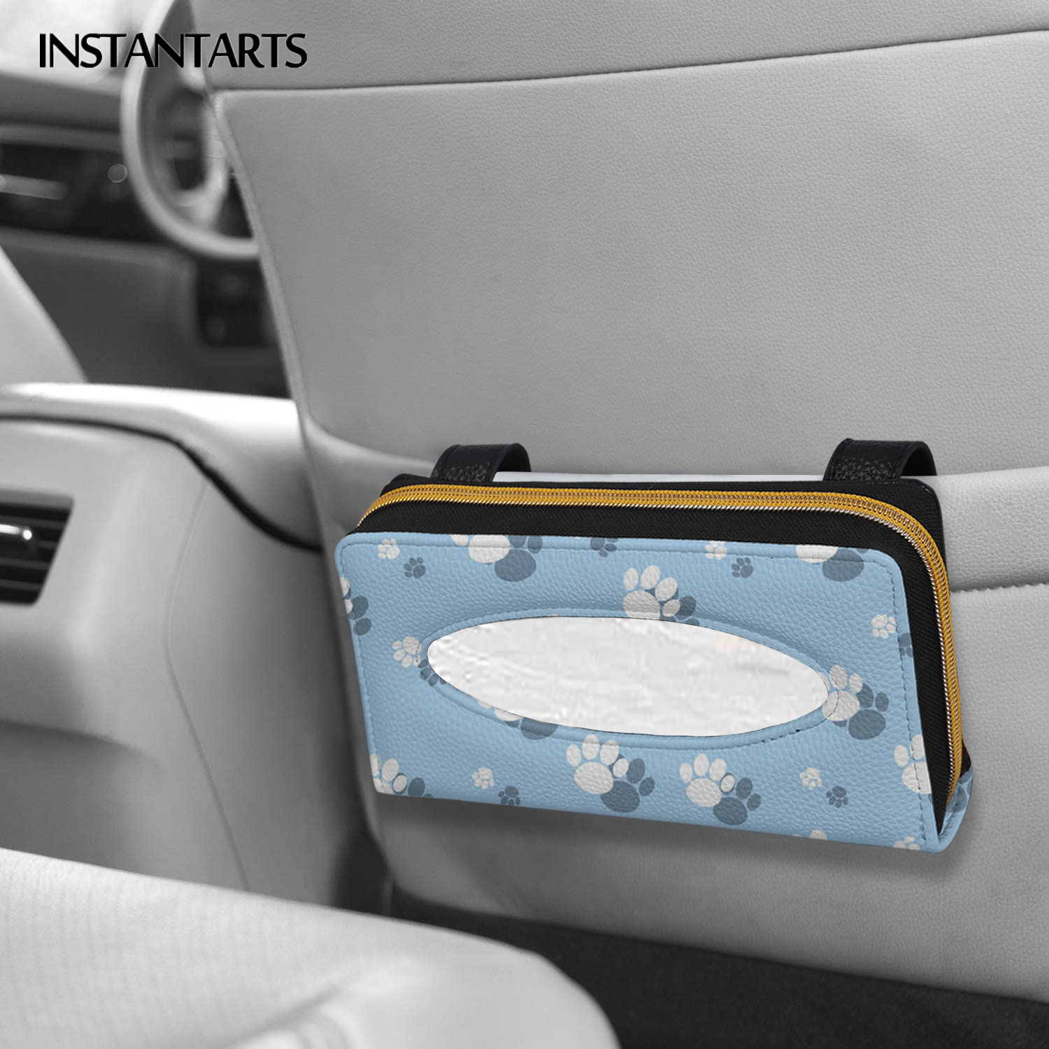 INSTANTARTS Lovely Dog Paw Pattern Car Protector Tissue Holder PU Leather Hanging Bag Car Chair Back Paper Towel Holder New