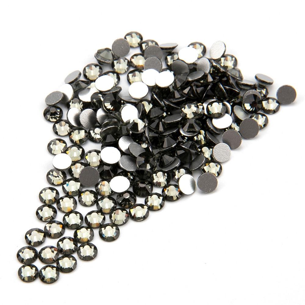 Ss3 ss34 nails стразы Кристальные черные камни с плоской задней