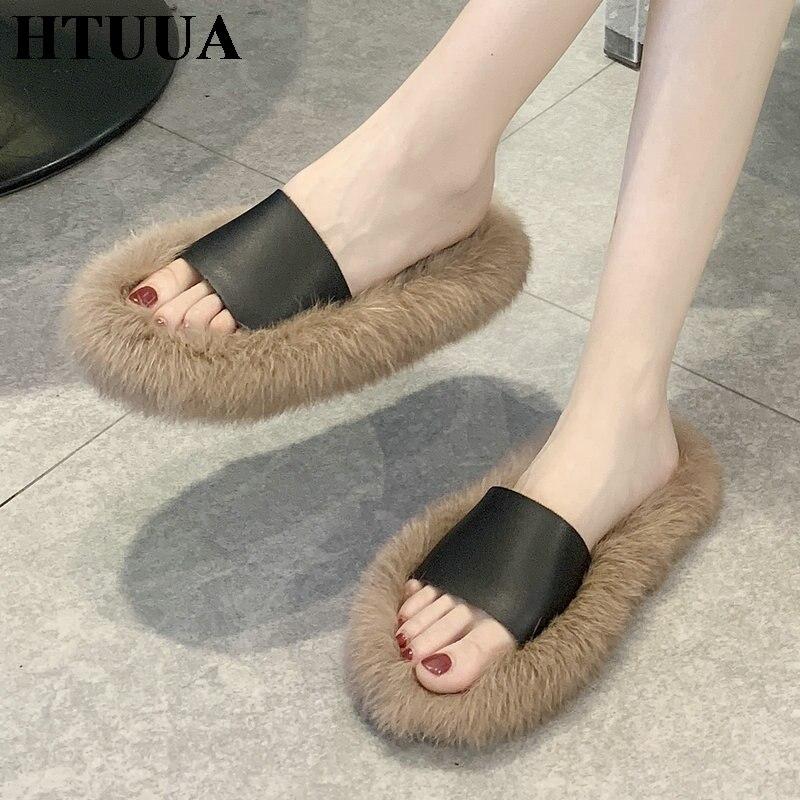 HTUUA Fur Slippers Home-Shoes Fluffy Femme Women House Furry Winter Summer Autumn Indoor