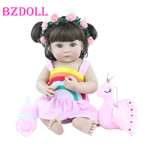 40 cm Full Soft Silicone Reborn Baby Doll Toy For Girl Lifelike Vinyl Mini Babies Boneca Kids Bathe Toy Child Birthday Xmas Gift
