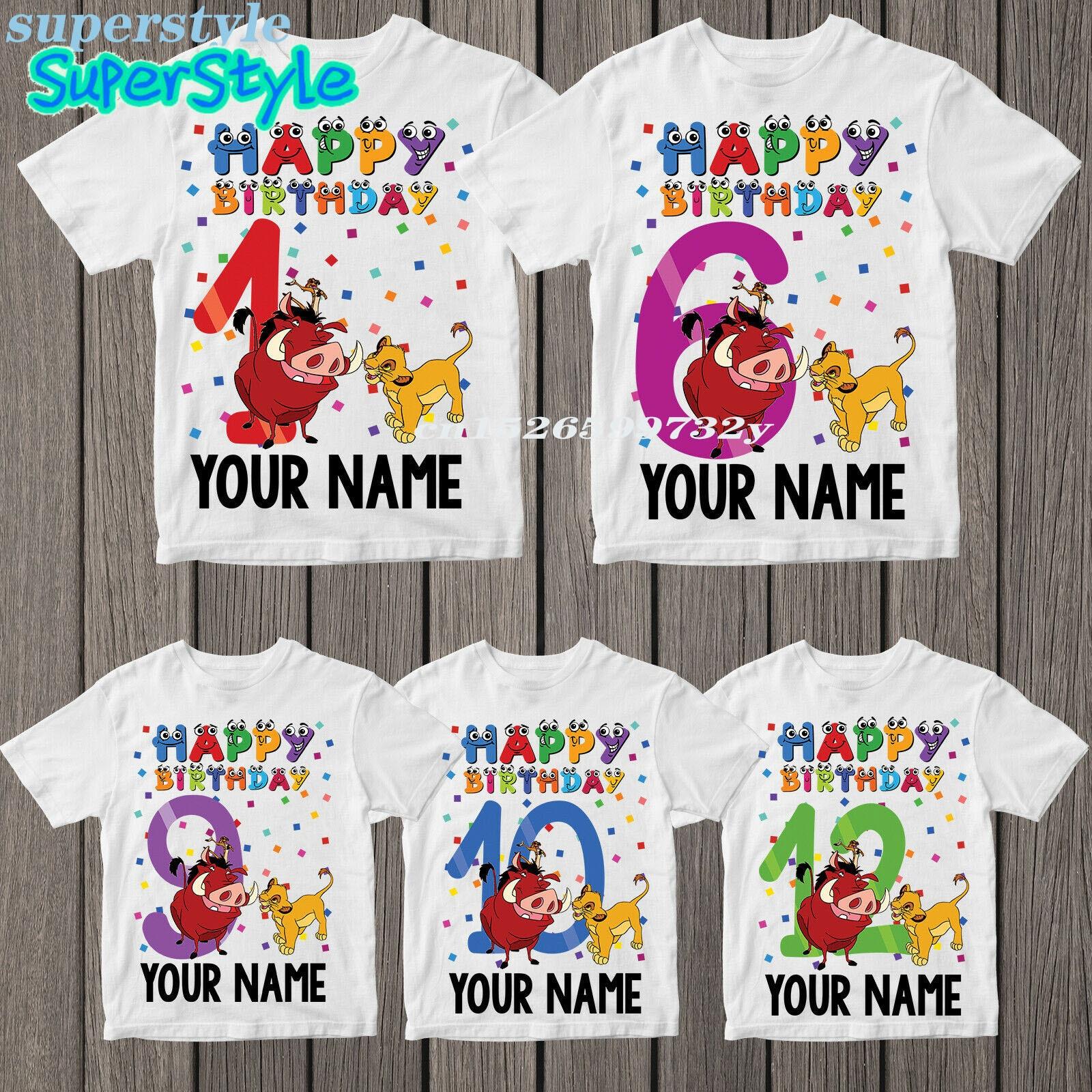 2021 Number 1-12 Cartoon Lion King Shirts Kid Happy Birthday Boys Simba Funny Girls t-shirt Harajuku Kids tops Clothes dHKP405