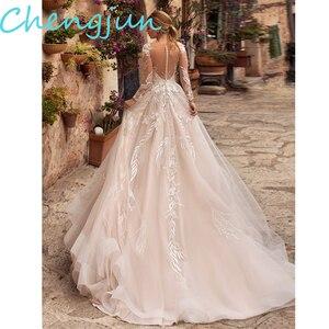 Image 2 - Chengjun 2020 Thiết Kế Mới Cọ Bầu Phối Ren Tay Dài Váy Cưới