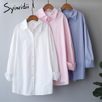Syiwidii-Blusa de manga larga para otoño, camisa con botones para mujer, moda coreana, blanco, azul, rosa, algodón, holgado de talla grande, 2021