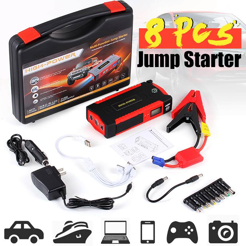 82800mAh 12V LCD 4 USB Car Jump Starter Charger Battery Power Bank LED Flashlight title=