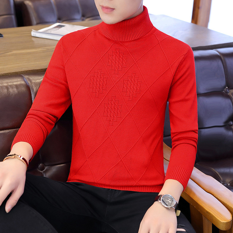 New Sweater Men Pullover Long Sleeve Fashion White High Collar Winter Red Black Youth Men Sweaters Turtleneck Pullovers Casual