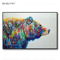 Artist Hand painted Big Animal Colorful Polar Bear Oil Painting Handmade Pop Wall Art Animal Picture Polar Bear Canvas Painting