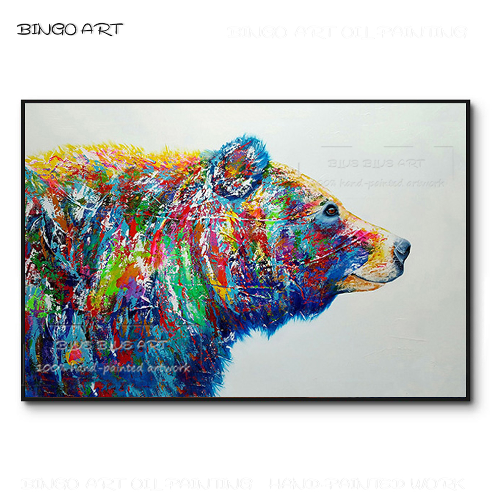 Artiste peint à la main grand Animal coloré ours polaire peinture à l'huile à la main Pop Wall Art Animal photo ours polaire toile peinture