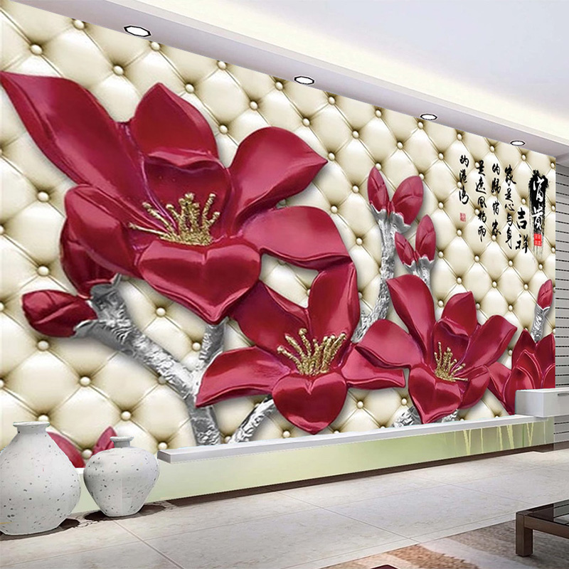 Custom Mural Wallpaper Chinese Style Magnolia Flowers Soft Roll Fresco Living Room TV Sofa Bedroom Home Decor Wall Painting 3 D