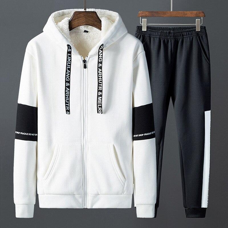 Patchwork cálido traje deportivo hombre interior de lana dos piezas conjuntos con capucha sudaderas con capucha pantalones de chándal FItness ropa de entrenamiento ropa deportiva hombres - 2