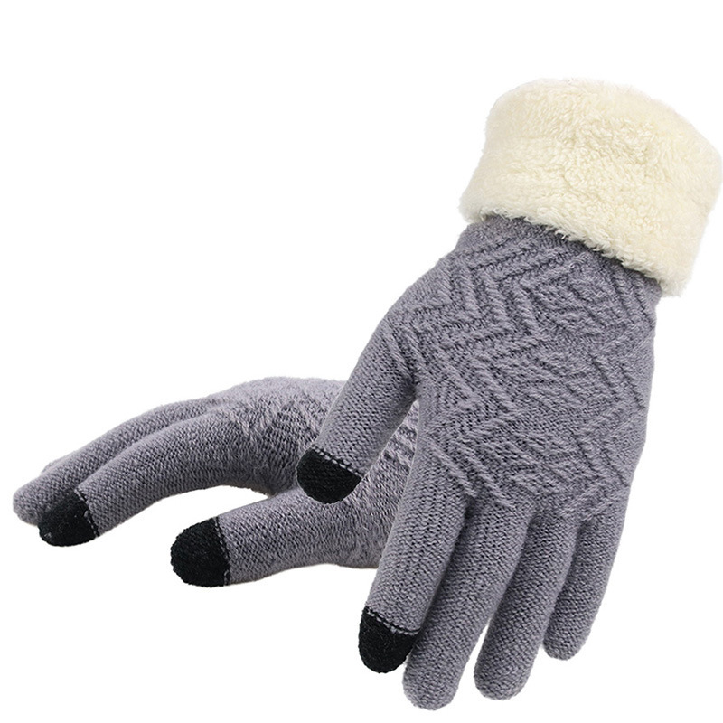 Knitted Gloves Women Men Kid Warm Winter Fashion Full Finger Mittens Lady Female Stretch Crochet Thick Solid Woolen Screen Luvas