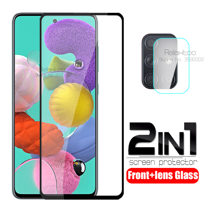 2 In 1 Camera Protective Glass For Samsung Galaxy A51 Phone Screen Protector On Samsunga51 A 51 A515F Tempered Glass Lens Film