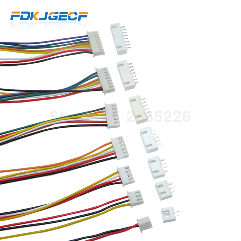 5 Sets JST XH2.54 XH 2.54mm Wire Cable Connector 2/3/4/5/6/7/8/9/10 Pin Pitch Male Female Plug Socket 300MM Wire 26AWG